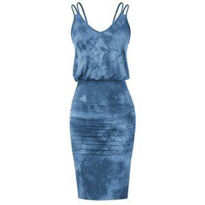 V-Neck Shoulder Straps Tie Dye Dress
